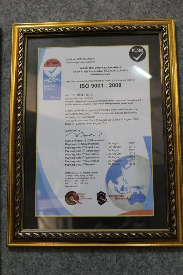 Sertifikat ISO 90012008 Terkait Pelayanan CK-1 2012